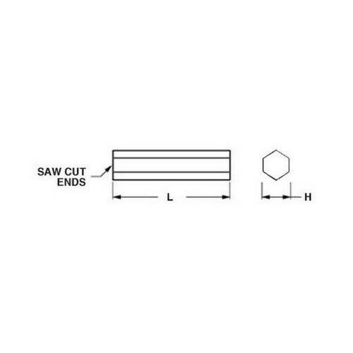 Diagram - Hexagonal Bar - Brass