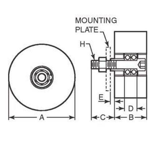 Diagram - Rollers - Solid - Stud Mount - Coloured Urethane