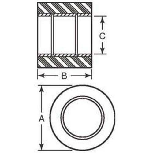 Diagram - Rollers - Solid - Bonded to Steel Insert - Coloured Urethane