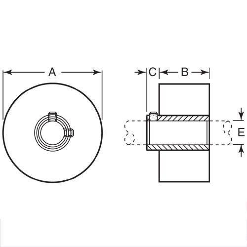 Diagram - Rollers - Solid - Shaft Mount - Black Neoprene