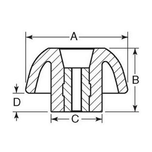 Diagram - Knobs - Three Lobe - Through Hole - Female
