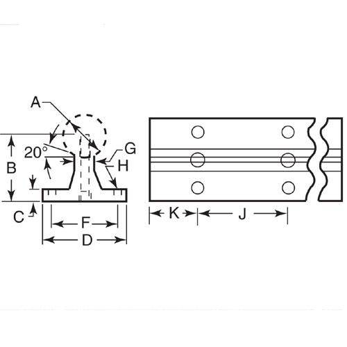 Diagram - Rail Supports - Without Shaft