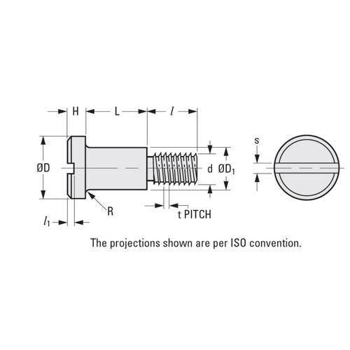 Diagram - Screws - Shoulder - Slotted Shallow Head - Stainless