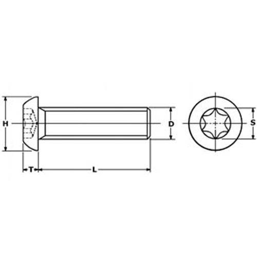 Diagram - Screws - Button - Torx - Stainless