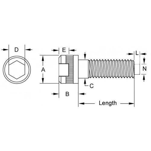 Diagram - Screws - Cap - Socket - Alloy Steel - Brass Tipped