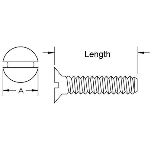 Diagram - Screws - Countersunk - 304 Stainless - Slotted
