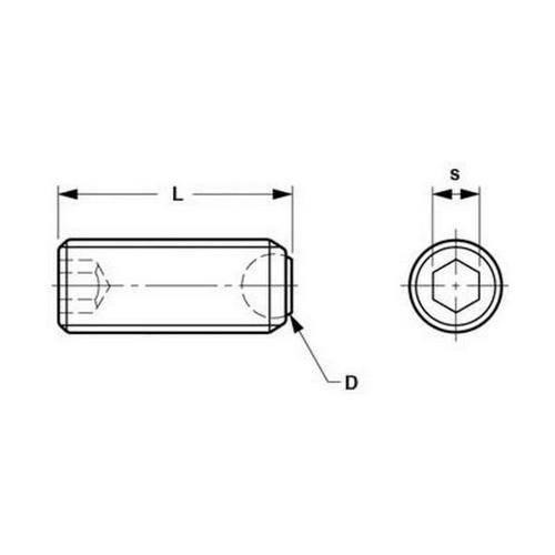 Diagram - Socket Set Screws - Flat Tip - Aligning - Stainless Steel