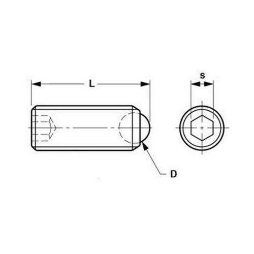 Diagram - Socket Set Screws - Rolling Ball Tip - Stainless Steel
