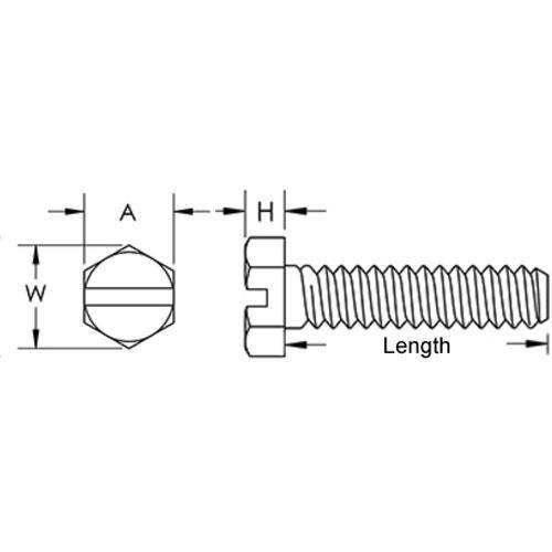 Diagram - Screws - Hex Head Slotted - Nylon