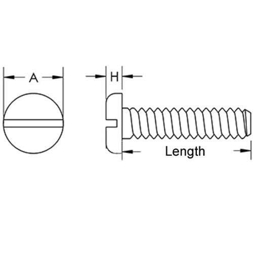 Diagram - Screws - Pan Head - 303-304 Stainless - Slotted