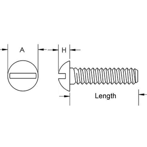 Diagram - Screws - Round Head - 304 Stainless - Slotted