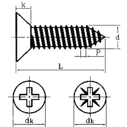 Diagram - Screws - Self Tapping - Countersunk - Philips - 304 Stainless