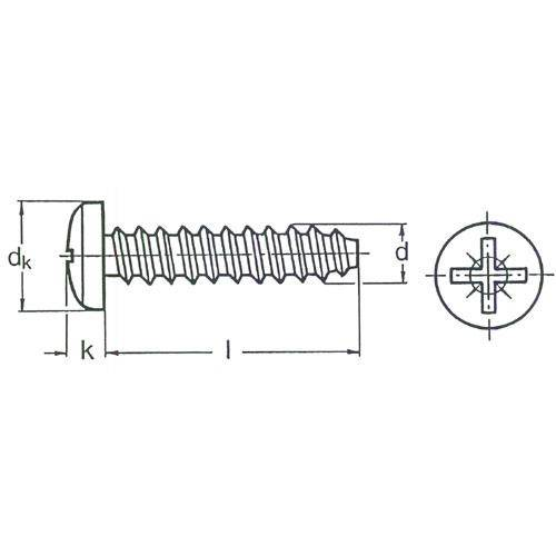 Diagram - Screws - Self Tapping - For Hard or Soft Plastics - Pan Head