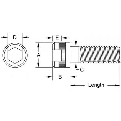 Diagram - Screws - Cap - Socket - 316 Stainless