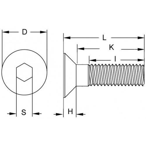 Diagram - Screws - Countersunk - Socket - 304 Stainless