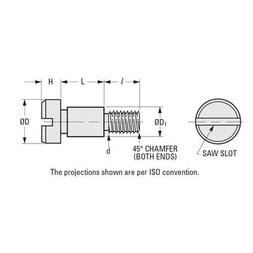Diagram - Screws - Shoulder - Slotted Head - Stainless
