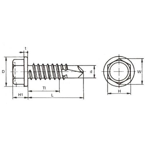 Diagram - Screws - Self Drilling - Hex Washer Head