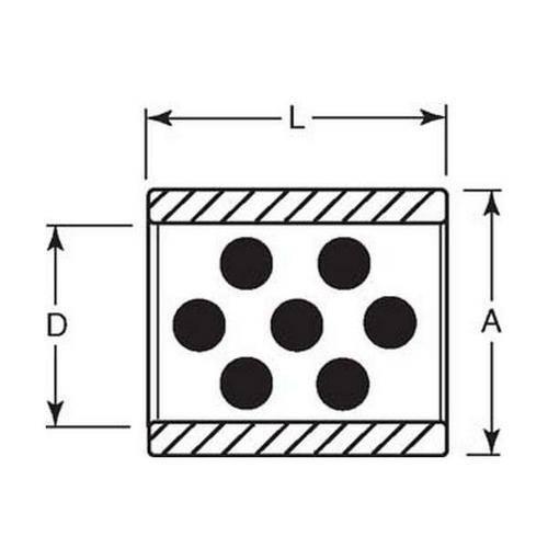 Diagram - Bushes - Aluminium Bronze - Graphite Plug - Unflanged