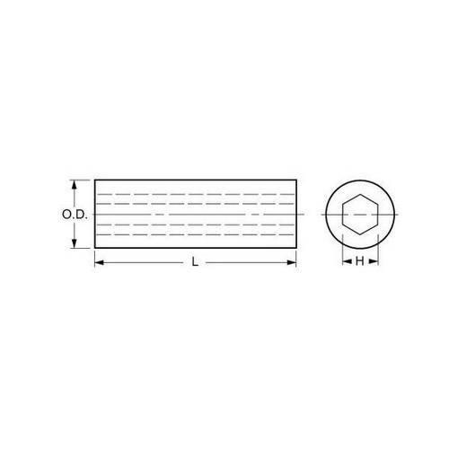 Diagram - Sleeves - Hex Hole - Carbon Steel