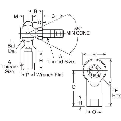 Diagram - Rod Ends - Steel - Studded - Nylon Seat - Female