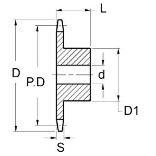 Diagram - Sprockets -  9.53 x 4.7mm - Simplex - Carbon Steel - Plain Bore