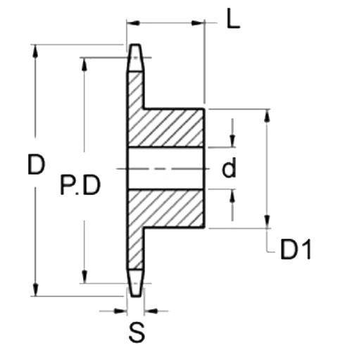 Diagram - Sprockets -  6.35 x 2.8mm - Simplex  - Stainless Steel - Plain Bore