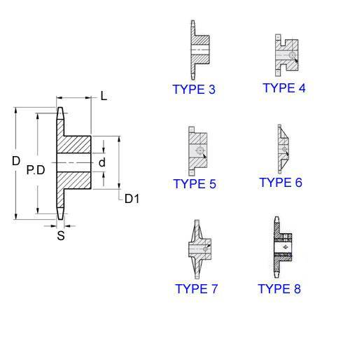 Diagram - Sprockets -  6.35 x 2.8mm - Simplex - Plastic
