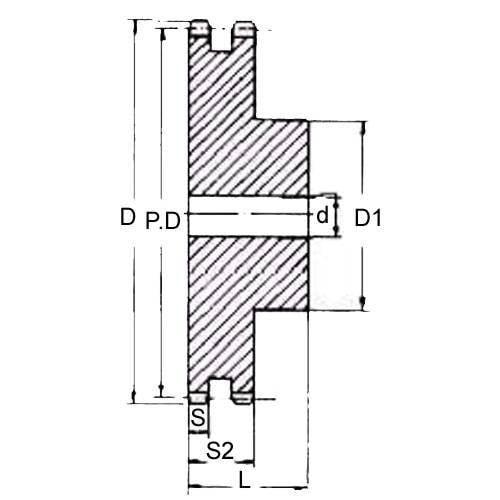 Diagram - Sprockets - 12.7 x 7.75mm - Duplex - Carbon Steel - Plain Bore
