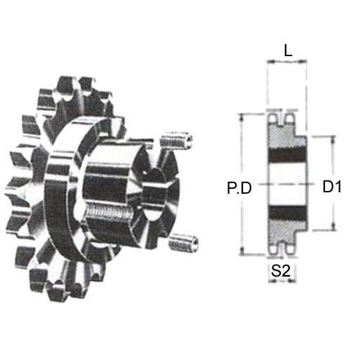 Diagram - Sprockets - 25.40 x 17.02mm - Duplex - Carbon Steel - Taperlock