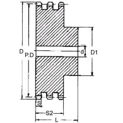Diagram - Sprockets - 19.05 x 11.68mm - Triplex - Carbon Steel - Plain Bore