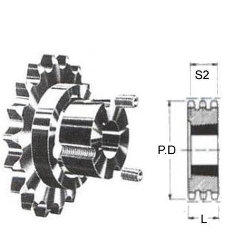 Diagram - Sprockets - 19.05 x 11.68mm - Triplex - Carbon Steel - Taperlock