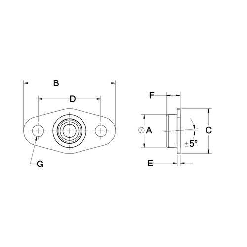Diagram - Housings - Bearing - Flanged - Miniature - Self Aligning