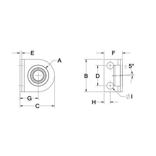 Diagram - Housings - Bearing - Pedestal - Miniature - Self Aligning