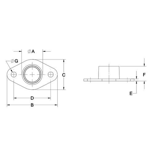 Diagram - Housings - Flange Mount - Non Aligning - Needle Roller
