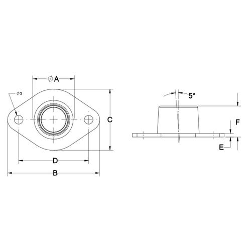 Diagram - Housings - Flange Mount - Self Aligning - PTFE Bronze - Standard