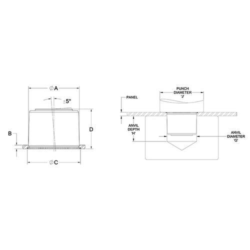 Diagram - Bearings - Self Clinching - Miniature - Self Aligning