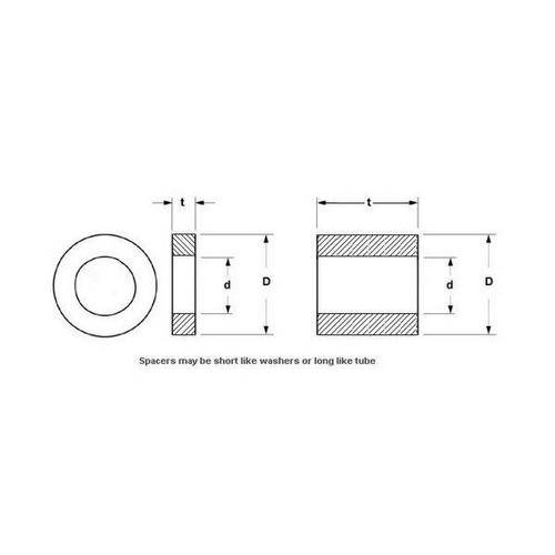 Diagram - Spacers - Round - Through Bore - Stainless Steel