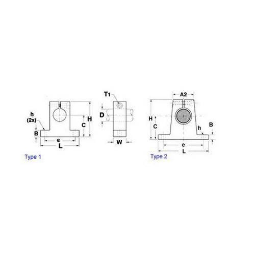 Diagram - Supports - Pedestal Two Bolt