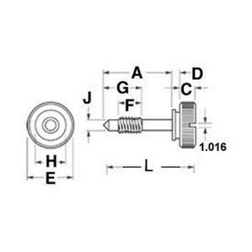 Diagram - Screws - Captive - Thumb - 303 Stainless