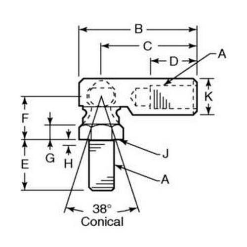 Diagram - Rod Ends - Steel - Studded - Swaged Construction - Female
