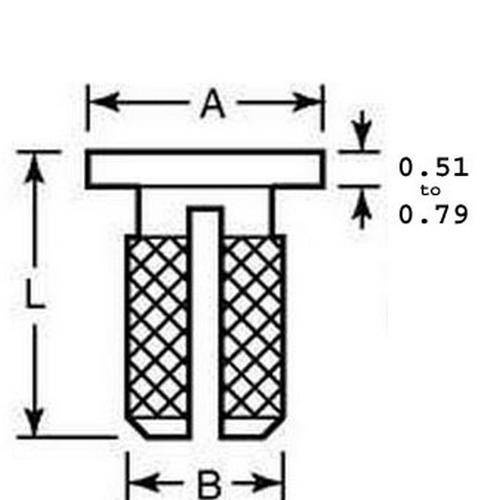 Diagram - Inserts - Expansion - Press In - 303 Stainless - Flanged