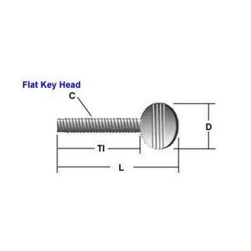 Diagram - Screws - Thumb - Flat Key Head - Steel