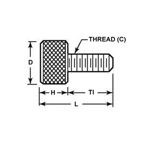 Diagram - Screws - Thumb - Knurled  - Aluminium
