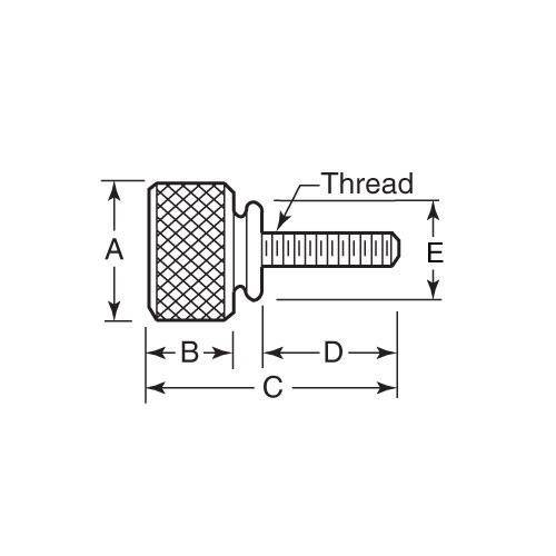 Diagram - Screws - Thumb - Knurled - Washer Face - Stainless Steel