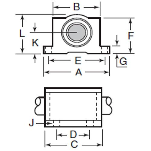 Diagram - Housings - Linear - Thomson Super Smart Twin Pillow Block - Closed - Footed