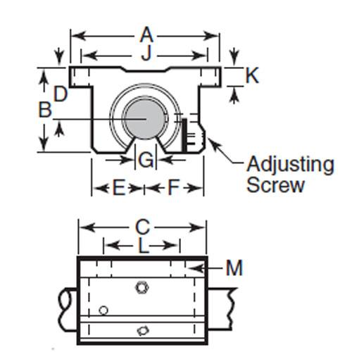 Diagram - Housings - Linear - Thomson Super Smart Twin Pillow Block - Open - Footed