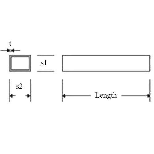 Diagram - Tube - Rectangular - Brass