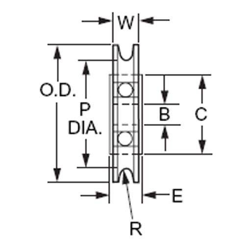 Diagram - Pulleys - U Groove - Idler - Plastic - With Ball Bearing
