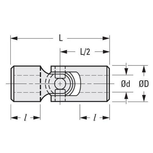 Diagram - Universal Joints - Single Joint - Plastic - Brass Bore Inserts