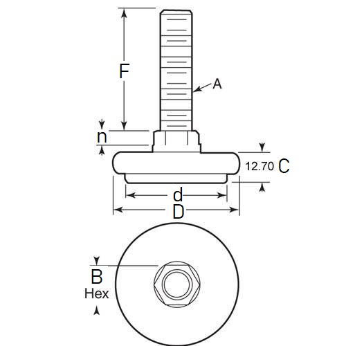 Diagram - Mounts - Leveling - Padded - Light Duty - With Elastomer Pads